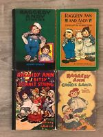 Lot of 4 VTG Johnny Gruelle Raggedy Ann & Andy Books Cookie Land Wrinkled Knees