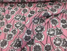 Pink Dandelion, Floral Print 100% Viscose Summer Printed Dress Fabric.