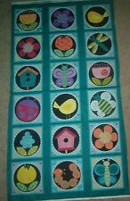 ANDOVER COTTON FABRIC PANEL-BIRDHOUSE, BIRD, INSECT, FLOWER-QUILT-WALL HANGING