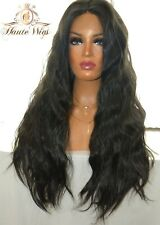 FOXY 32 INCH BLACK LONG WAVY LACE FRONT WOMENS SLEEK WIG FULL THICK 150% DENSITY