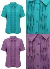 Brand New Bon Marche Short Sleeve Chiffon Green/Purple Blouse Shirt Top 10-24