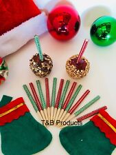 12pc Red and Green Christmas Rhinestone Candy Apple Sticks