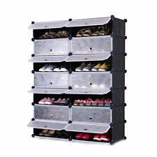 DIY 2 x 8 Cube Shoe Rack Wardrobe Box Storage Closet Organizer Cabinet with Door