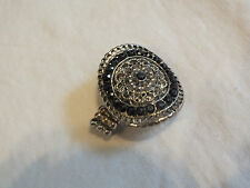 "Collectible Stretch Cocktail Ring Silver Tone Black Rhinestones 1 1/4"" Face CUTE"