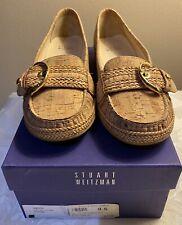 STUART WEITZMAN Women's Smock Natural Cork Wedge Flats Loafers Sz 8.5