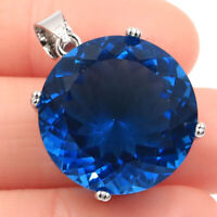 30x20mm Big Round Gemstone 20mm London Blue Topaz Woman's 925 Silver Pendant
