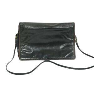 Bottega Veneta Vintage Black Leather Flap Closure Shoulder Bag Italy Flawed