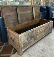 Wood Blanket Box / Storage Trunk Ottoman Chest - Made of Reclaimed Vintage Wood