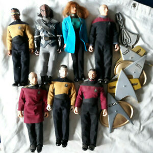 """STAR TREK 7 TNG PLAYMATES lot of 9"""" FIGURES Loose w/ Some accessories & cards"""