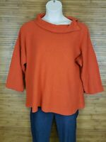 Margaret Winters Orange Accented Pullover Sweater Womens Size Large L EUC