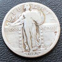 USA 1928 S Standing Liberty Quarter 25c Silber Selten #26940