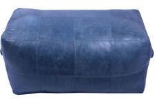 32 inch long rectangular leather upholstered patchwork ottoman in dark blue fini
