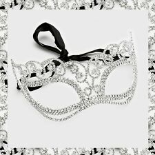 Silver Swirl Curly Crystal Rhinestone Venetian Face Mask Masquerade Party Chic