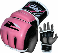 RDX MMA Gloves Grappling Womens Pink Training Sparring Leather Muay Thai Punch