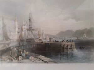 Three Victorian Framed Prints of Glasgow Ports from studies by W.H. Bartlett