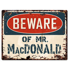 PBMR0685 Beware of MR. MacDONALD Chic Plate Sign Home Decor Funny Gift Ideas
