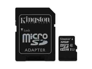 32 GB MicroSDHC Micro SD Speicherkarte mit SD-Adapter Kingston Cl 10 Highspeed