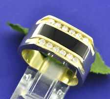 0.52ct 14k Solid Yellow Gold Men's Natural Diamond & Onyx Ring 2 row made in USA