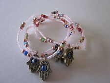 5 pic pink color hamsa and evil eye bracelet use together or one by one.