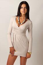 Women's Mini Dress V-Neck Cocktail Tunic Long Sleeve Plus Sizes 8 -18 8518