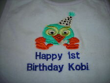 happy 1st  birthday  hoot the owl  from giggle and hoot   bibs
