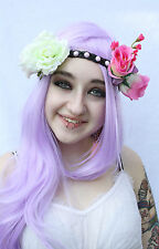 PURPLE PINK WHITE ROSE STUDDED FLOWER CROWN HIPPY PASTEL GOTH GRUNGE HEAD BAND