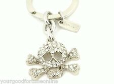 Coach NEW Crossbones Skull Pave Swarovski Crystal Key Chain Ring Pave 92413