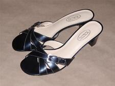 Talbot Black Leather Slide Sandals Size 8.5 Medium (B, M) Med (1 3/4 - 2 3/4 in)