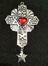 Mexican Tin cross with heart Decoration /Milagros