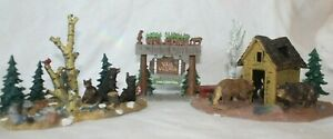 3 pc Lemax Village Collection Table Accent - ANYBODY HOME, Vail Village & Bears