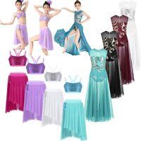 Girls Kids Lyrical Modern Jazz Dance Dress Floral Sequin Ballroon Party Costume
