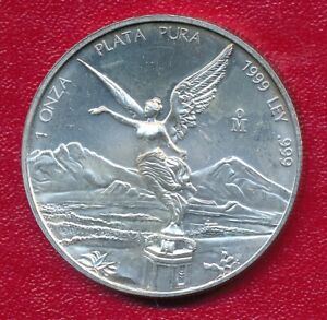 MEXICO 1999 ONE OUNCE SILVER LIBERTAD **CHOICE BRILLIANT UNCIRCULATED** KEY DATE