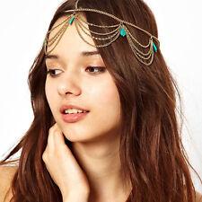 Boho Pearl Gold Wedding Headdress Headband Head Band Crown Chain Headpiece HOT