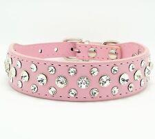 Bling Rhinestone Largel Pink PU Leather Crystal Rhinestine  Dog Collar