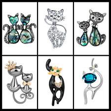 Beautiful Cute Cat Brooch Diamante Pearl Diamante Conch Cat Kitten Brooch Pin