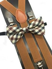Maroon Plaid Bow Tie & Brown Suspender Matching Set Tuxedo Wedding Accessories