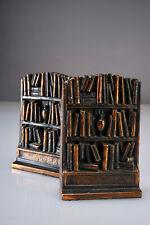Antique Vintage 1930's Art Deco Library Bookshelves Bookends Cast Metal PAIR