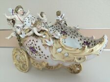 Antique Volkstedt Porcelain Figural Group Figurine Of Cherubs On The Chariot 12""