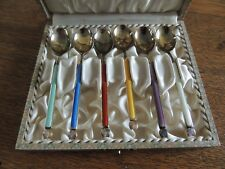 A Michelsen Sterling Guilloche Demitasse Spoons in Box Gold Washed Denmark
