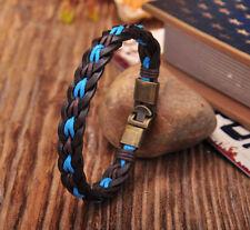 Surfer Handmade Blue Hemp Leather Braided Men's Wristband Bracelet Cuff Clasp