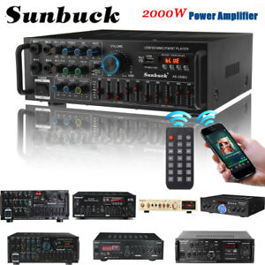 🔥 Sunbuck 2000W Stereo HiFi Power Amplifier bluetooth 5.0 Karaoke FM USB SD