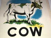 Vintage COW VOWEL VALUES G.M. COMBE C.S. Hammond & Co. School Classroom Decor