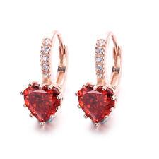 Ruby & Diamonds 2.80Ct 14k Rose Gold Over Love Heart Stud Earrings For Women's