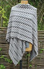 RIANI  - 100% Grey Silk Lined Zig Zag Woven Cotton Mix Summer Wrap/ Cape/ Shawl