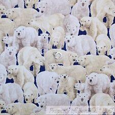BonEful Fabric FQ Cotton Quilt Navy Blue Water Cream White L Polar Bear Girl Boy