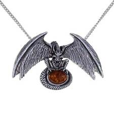 New St Justin Pewter Amber Cabochon Dragon Lair Pendant Necklace UK Made PN88