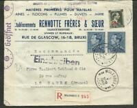 BELGIUM TO FRANCE 1942 CENSOR REG. COVER,MOLENBEEK TO LE HAVRE VFINE W/ADVERT.