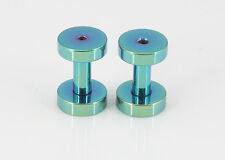 2 Green Titanium Anodized Screw Flare Ear Tunnels 10g = 2.50mm #GS10