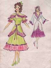 1950's FASHION DRESS DESIGNS Watercolour Painting c1950