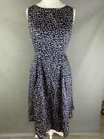 BNWT Laura Ashley Navy Blue Antique Pink Ditsy Floral Fit Flare100% Cotton 12